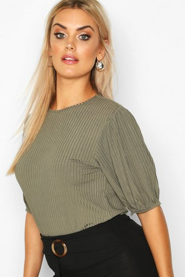 Khaki Plus Jumbo Rib Puff Shoulder Top