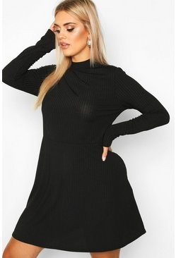 Womens Black PLus Jumbo Rib Long Sleeve Smock Dress