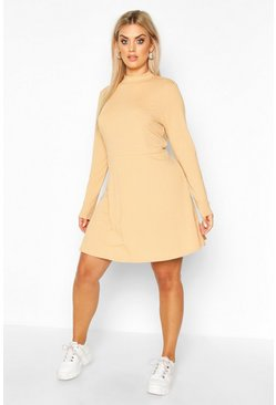 PLus Jumbo Rib Long Sleeve Smock Dress, Camel, MUJER