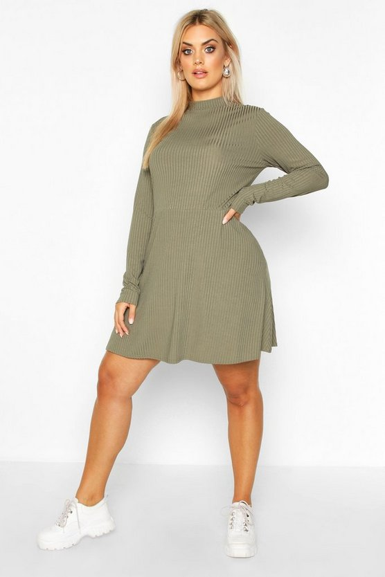 Womens Khaki PLus Jumbo Rib Long Sleeve Smock Dress