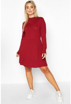 Womens Wine PLus Jumbo Rib Long Sleeve Smock Dress