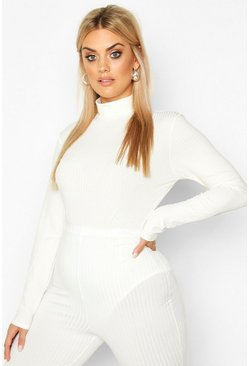 Plus Jumbo Ribbed High Neck Bodysuit, Cream, MUJER