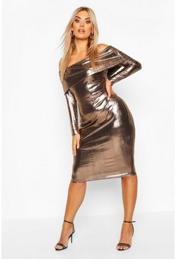 Womens Bronze Plus Metallic Off The Shoulder Midi dress