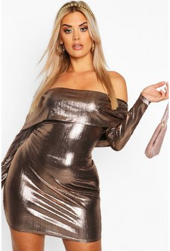 Dam Bronze Plus Metallic Bardot Long Sleeve Bodycon Dress
