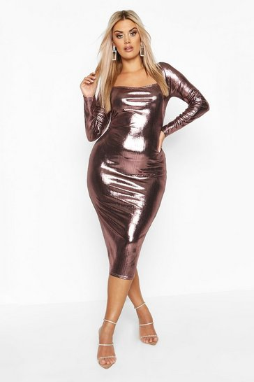 Womens Rose Plus Metallic Square Neck Long Sleeve Midi Dress