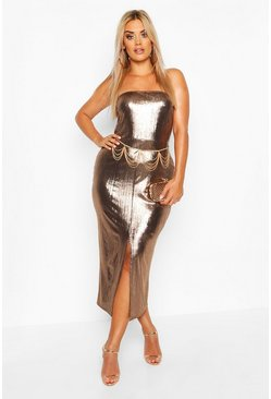 Womens Bronze Plus Metallic Square Neck Midaxi Dress