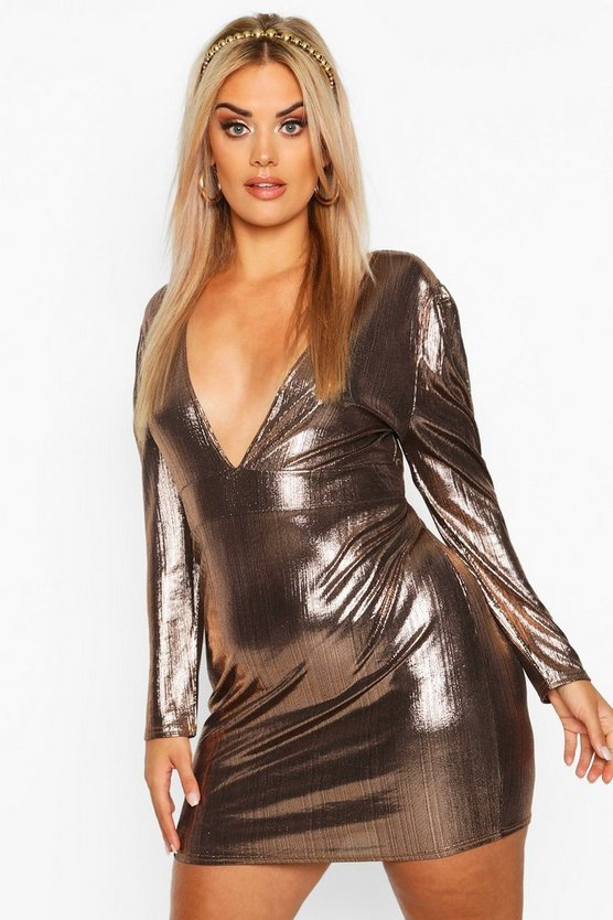 Bronze Plus Metallic Puff Sleeve Plunge Mini Dress