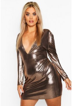 Womens Bronze Plus Metallic Puff Sleeve Plunge Mini Dress