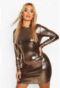 Bronze Plus Metallic High Neck Long Sleeve Bodycon Dress
