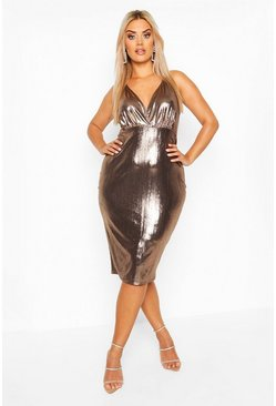 Womens Bronze Plus metallic Wrap Front Midi Dress