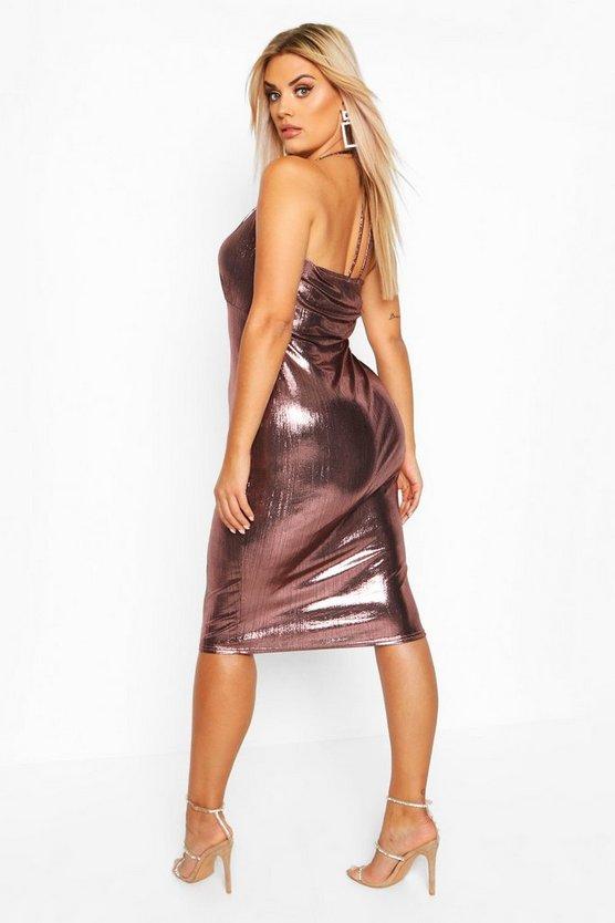 Plus metallic Wrap Front Midi Dress