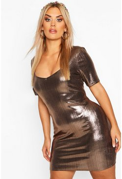 Bronze Plus Metallic Sweetheart Mini Dress