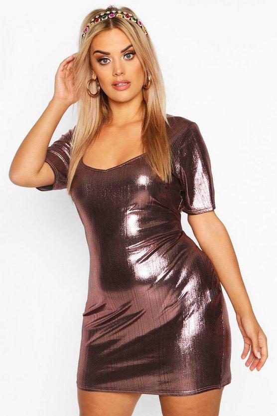 Plus Metallic Sweetheart Mini Dress