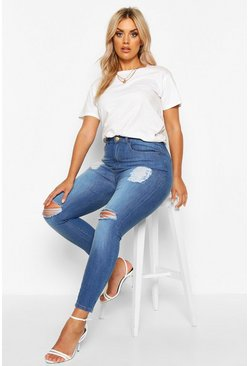 Plus Super Stretch High-Waist Skinny Jeans in Destroyed-Optik, Mittelblau