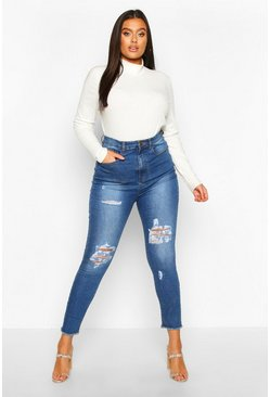 Plus High-Waist Skinny Jeans in Destroyed-Optik, Hellblau, Damen