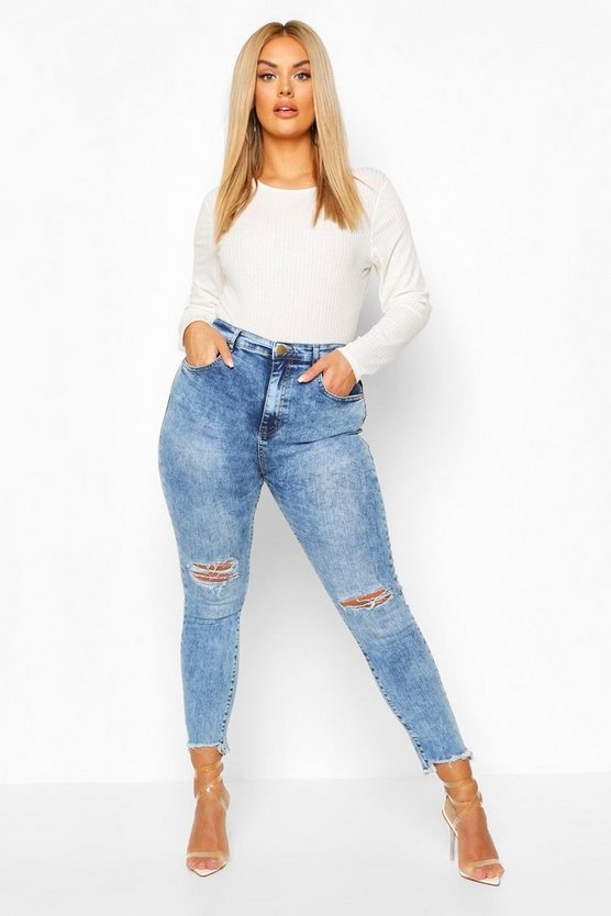 Mid blue Plus High Waist Stretch Distressed Skinny Jeans