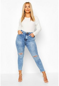 Plus Stretch High-Waist Skinny Jeans in Destroyed-Optik, Mittelblau