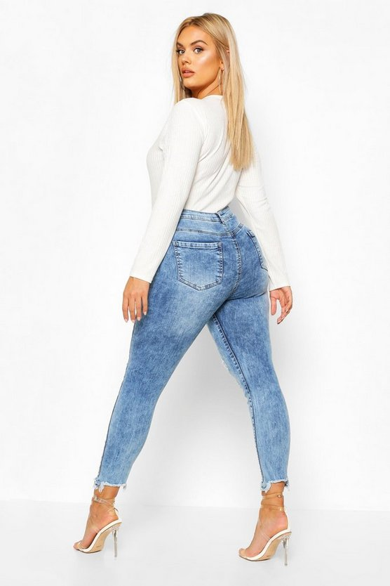Plus High Waist Stretch Distressed Skinny Jeans