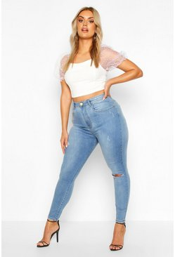 Plus High-Waist Mama-Jeans in Destroyed-Optik, Vintage-blau