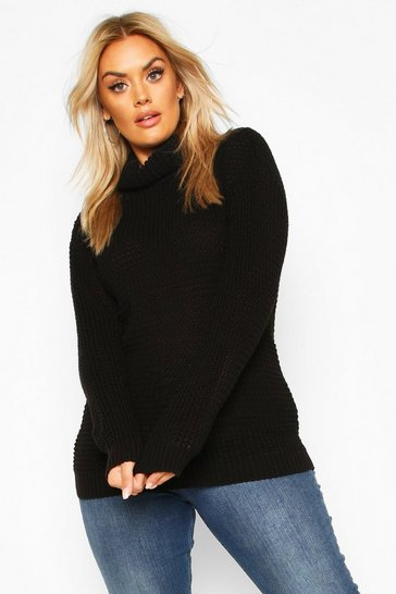Womens Black Plus Roll Neck Waffle Knitted Jumper