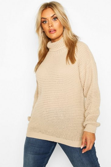 Stone Plus Roll Neck Waffle Knitted Jumper