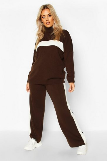 Womens Mocha Plus Premium Heavy Knitted Stripe Set