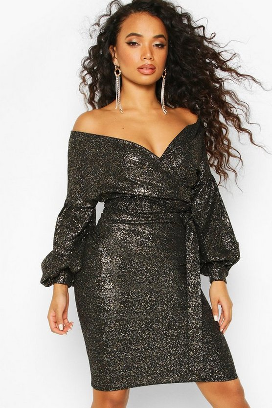 Womens Black Petite Glitter Sparkle Off The Shoulder Midi Dress