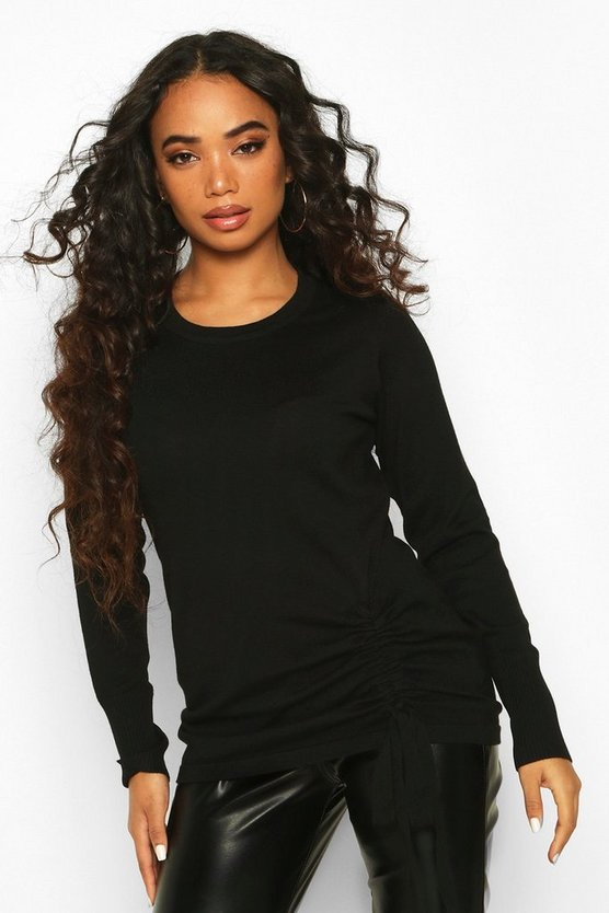 Black Petite Ruched Detail Crew Neck Jumper