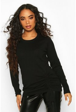 Petite Ruched Detail Crew Neck Jumper, Black