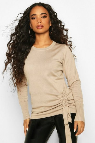 Womens Stone Petite Ruched Detail Crew Neck Jumper