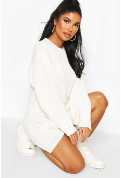 Ivory Petite Volume Sleeve Jumper Dress