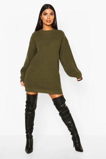 Womens Khaki Petite Volume Sleeve Jumper Dress