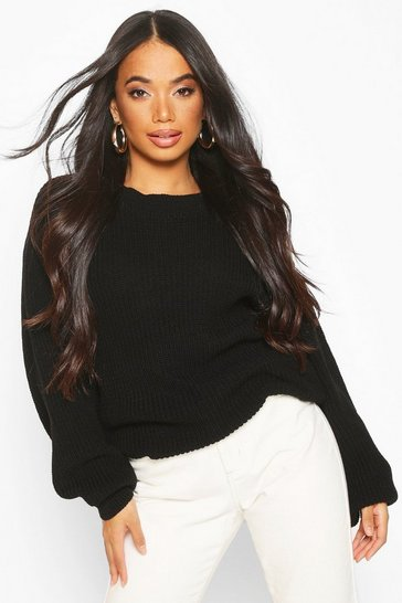 Womens Black Petite Volume Sleeve Jumper