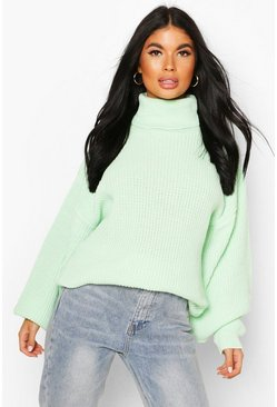Pale green Petite Volume Sleeve Jumper