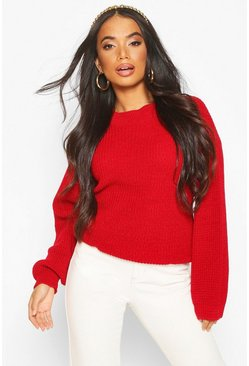 Womens Red Petite Volume Sleeve Jumper