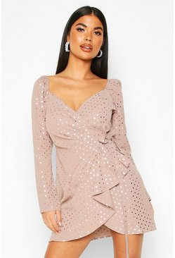 Womens Mauve Petite Metallic Spot Mini Dress