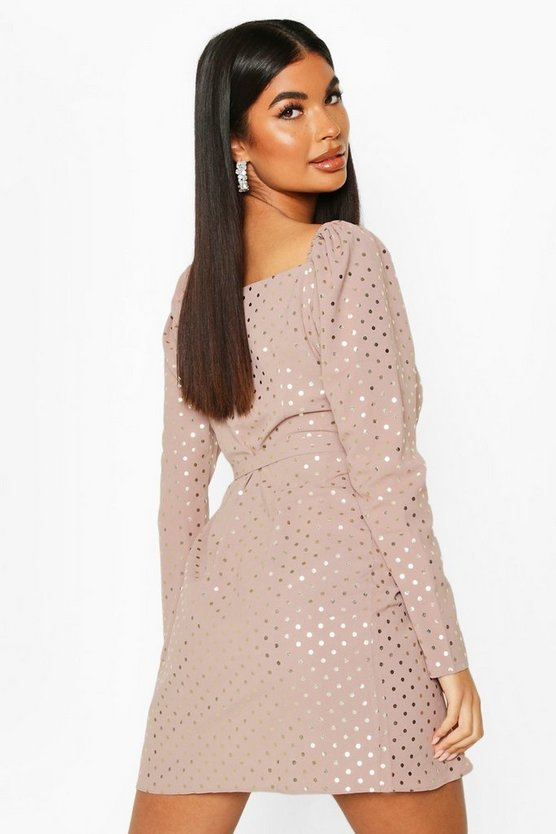 Petite Metallic Spot Mini Dress