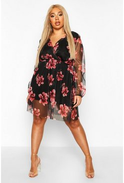 Womens Black Plus Floral Mesh Wrap Skater Dress