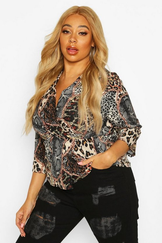 Plus Mixed Animal Print Wrap Top