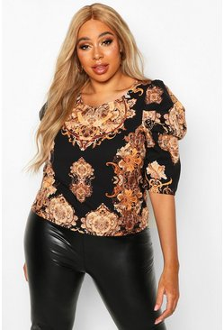 Black Plus Chain Print Puff Sleeve Blouse