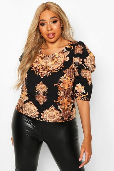 Womens Black Plus Chain Print Puff Sleeve Blouse
