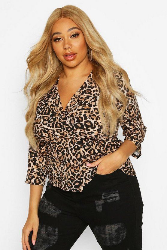 Plus Leopard Wrap Front Blouse