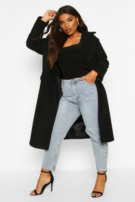 Black Plus Longline Teddy Coat