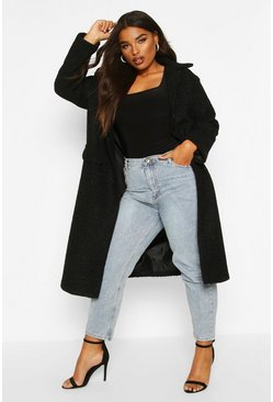 Plus Longline Teddy Coat, Black, MUJER
