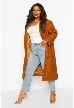 Womens Camel Plus Longline Teddy Coat