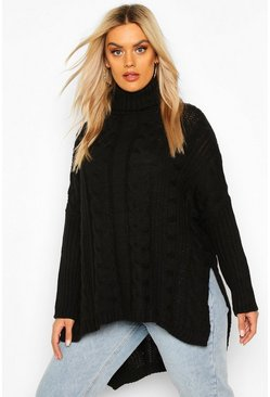 Womens Black Plus Cable Roll Neck Oversized Jumper