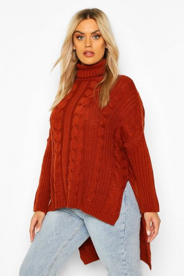 Womens Rust Plus Cable Roll Neck Oversized Jumper
