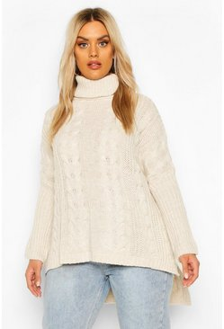 Stone Plus Cable Roll Neck Oversized Jumper