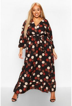 Black Plus Spotty Wrap Front Ruffle Midaxi Dress