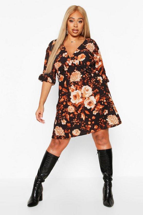 Plus Floral Ruffle Smock Dress